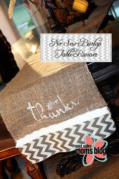 Make It Monday-No Sew Burlap Table Runner