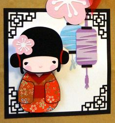 inspiration for an Asian themed card from A Star For Chiemi ... cutting file image ... this is a bag decoration, but I see a delightful card ... luv the idea of the bobble head for the doll ...