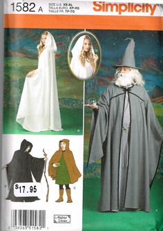 Simplicity 1582 Medieval Hooded Cloak Merlin by PeoplePackages, $7.00