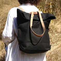 18 oz Canvas Tote Backpack Black   Etsy Tote Backpack, Black Backpack, Leather Backpack, Cute Fashion, Fashion Ideas, Cute Mini Backpacks, Business Dresses, Tan Leather, 18th