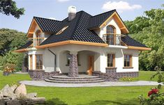 Ariadna I - Dobre Domy Flak & Abramowicz Bungalow Haus Design, Modern Bungalow House, Duplex House Design, Dream Home Design, Home Design Plans, Modern House Design, House Plans Mansion, House Floor Plans, Style At Home