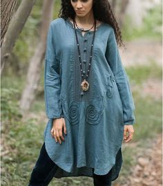 Cotton and linen dress plus size looser dress casual dress maxi dress boho dress