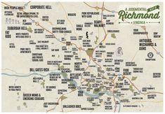Judgmental Map of Richmond Virginia by BenhausDesign on Etsy, $29.00