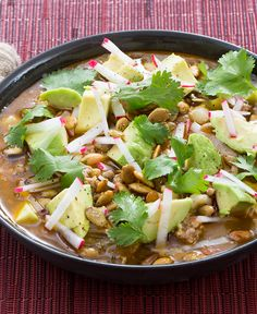 Pozole is a traditional Mexican soup with its origins in Aztec cuisine. Though there are many variations, all of them center on hominy, a special preparation of maize.