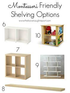 Montessori Friendly Shelving -- Some Options