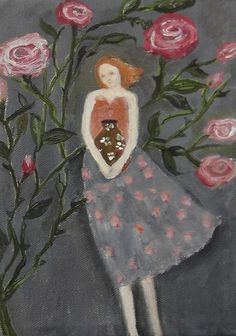 In Roses' Shadow Original oil painting on 8x6 by EverywomanArt, $80.00