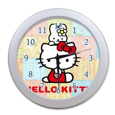 G-Store Cute Cartoon Pink Cat Hello Kitty Modern Decorative Arabic Numerals Round Home Office Decor Wall Clock Gainsboro 9.65inch *** Check this awesome product by going to the link at the image. (This is an affiliate link and I receive a commission for the sales)
