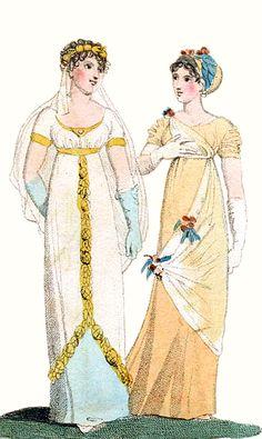 Evening Dresses, August 1803. Regency Dress, Regency Era, Jane Austen, 1800s Fashion, Vintage Fashion, Yellow Ballgown, Empire Fashion, Merry Widow, Empire Style