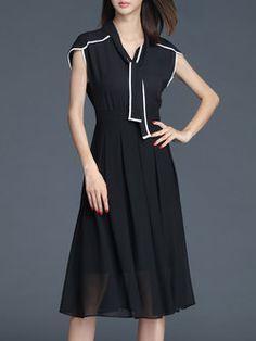 Short Sleeve A-line Elegant Midi Dress