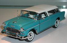 PhillyMint Diecast - Danbury Mint 1955 Chevrolet Bel Air Nomad Station Wagon Turquoise & Ivory 1:24th Scale Diecast Model