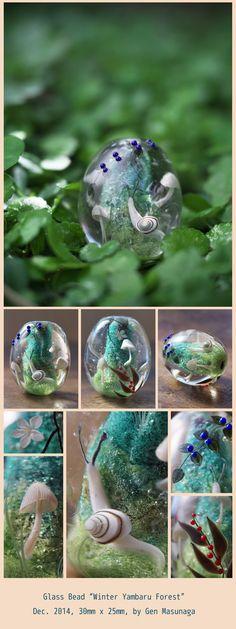 Glass Beads: One scene of winter forest in Yambaru, Okinawa Island.
