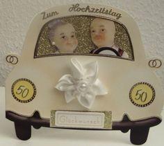 3D Auto Karte zur Goldenen Hochzeit - Glitzer - Oma & Opa by kartensopi, Außergewöhnliche Karte zur Goldenen Hochzeit !  - Karte in Form eines Autos - Goldhinterlegte Windschutzscheibe ...