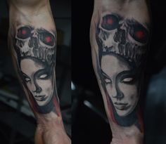 tattoo tomek machoń tomasz machon face art decotattoo skull woman girl dark