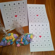 Valentine BINGO cards with candy hearts as markers. Front and back each have a different card so kids can split and share or play both. I decorated the cards on the inside of fold. Valentine Games, Valentines Day Party, Valentine Crafts, Be My Valentine, Paper Crafts, Diy Crafts, Youth Ministry, Bingo Cards, Candy Store