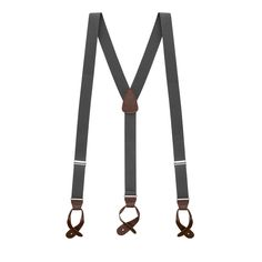 b8c2c93ab0f 1.25 In Wide Button Suspenders - DARK GREY with Brown Leather