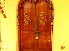 The main door of the Shakti Kutir the place where Sri Sri Ravi Shankar, the founder of the Art of Living Foundation used to stay .