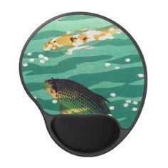 SOLD! - Shiro Kasamatsu Karp Koi fish pond japanese art Gel Mouse Mat #kasamatsu #pond #koi #karp #fish #emerald #water #mousepad #gel #hanga #japanese #gift #Japan #art