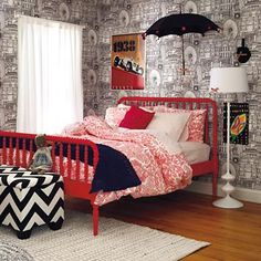 Black, white and raspberry make for a very chic girl's room.