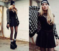 Choies Top, Chicwish Skirt, Sheinside Cardgian, Romwe Beanie, Unif Boots