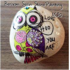 owl, stone painting ,
