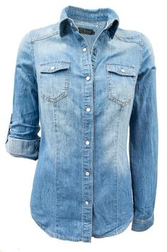 7faec329e18 Denim Chambray Button Up Shirt Jean Shirts