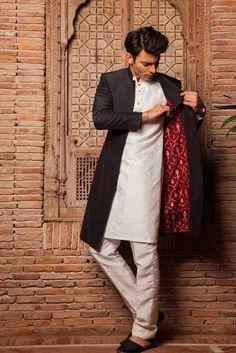 Style360LABELS eStore - Black sherwani - Silk by Fawad Khan - Men - Designer