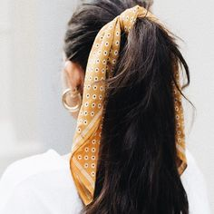Love the tiny flower print on this yellow head scarf!