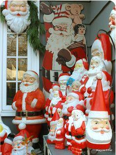 front porch vintage Santas
