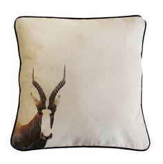 African Bontebok Cushion Cover printed on bull denim.