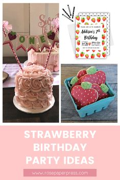 The best ideas for hosting a Strawberry Birthday Party for kids of all ages. Easy party ideas including invitations, cake, cookies, bows, and decorations. 1st Birthday Banners, Kids Birthday Themes, Birthday Invitations Kids, 2nd Birthday Parties, Birthday Fun, Strawberry Shortcake Birthday, Cake Cookies, Holiday Cards, First Birthdays