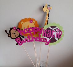 12  Girl Jungle or Safari Animal Place Cards Food by AngiesDesignz, $15.00