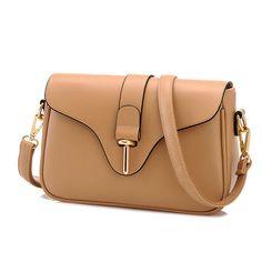Lady Buckle Leather Messenger Bag Shoulder Bag
