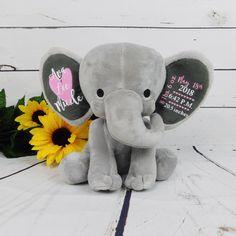 Excited to share this item from my shop: Baby Gift / Baby Girl Gift / Baby Birth Stats / Custom Stuffed Animal / Elephant / Custom Baby Gift / Monogram Baby / Custom Elephant / New