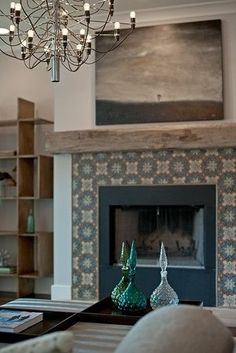 salvaged wood mantel + pattern tile fireplace by Buckingham. A great installation idea for our Tabarka, terracotta, decorative tile! Fireplace Tile Surround, Fireplace Update, Home Fireplace, Fireplace Remodel, Fireplace Surrounds, Fireplace Design, Fireplace Mantels, Tiled Fireplace, Fireplace Ideas