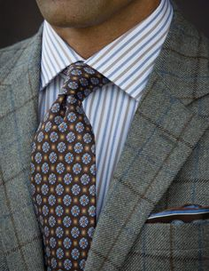 Robert Talbott Fall 2013 Grey with Brown and Blue Windowpane Sport Coat.  Grey with Brown 15fd684e570