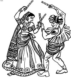 Folk Dances of India Coloring Pages, Gujarati Folk Dance Dandiya Coloring Page, Folk Dances of India Coloring Book