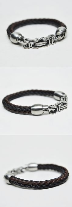 Accessories :: Bracelets :: Magnetic Silver Closure Leather Braided-Bracelet 133 - Mens Fashion Clothing For An Attractive Guy Look