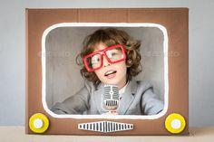 Child playing with cartoon TV by yarruta. Child playing with cardboard box TV. - Child playing with cartoon TV by yarruta. Child playing with cardboard box TV. Kid having fun at ho - Carton Tv, Cardboard Box Crafts, Gifted Kids, Kids Tv, Box Tv, Diy Box, Happy Kids, Kids And Parenting, Diy For Kids