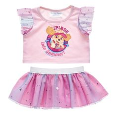 Splash into summer with this pink plush toy outfit featuring Skye from PAW Patrol! Outfit a Paw Patrol Skye furry friend online to make the perfect gift. Build-A-Bear Workshop Paw Patrol Outfit, Paw Patrol Birthday Cake, Build A Bear Outfits, Arte Do Kawaii, Cute Outfits For Kids, Children Outfits, Teddy Bear Clothes, Girl Thinking, Bear Paws