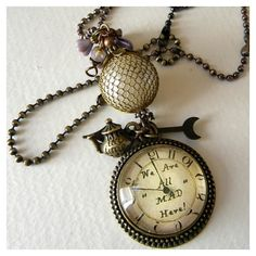 Items similar to Necklace - STEAMPUNK Wonderland Pocket Watch - We're... ❤ liked on Polyvore featuring jewelry, necklaces, steampunk necklace, steam punk necklace, steam punk jewelry, steam punk pocket watches and steampunk jewelry