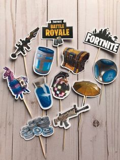 Everyone loves the battle royale phenomenom called Fortnite which draws in millions of views across multiple social media platforms mo. 13th Birthday Parties, 9th Birthday, Birthday Party Themes, Diy Birthday Decorations, Cupcake Toppers, Food Picks, Birthdays, Appetizers, Cupcakes