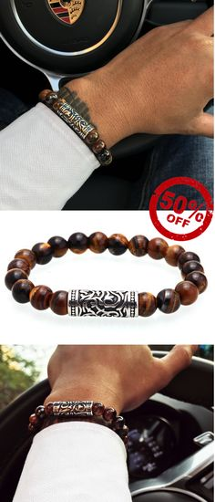 this tigers eye stone men's beaded bracelet is just the little addition your look has been begging for. Free Worldwide Shipping #Men'sJewelry