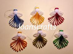 Satz von sechs Quilling Mini Engel Ornamente