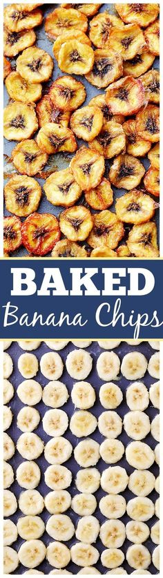 Homemade Baked Banana Chips Recipe Homemade Baked Banana Chips - Deliciously sweet and guilt-free baked banana chips are so easy to make and are the perfect portable, healthy snack to have on hand. Baked Banana Chips, Banana Snacks, Baked Chips, Banana Recipes Dinner, Banana Recipes Sugar Free, Banana Recipes Easy Healthy, Healthy Snacks For Kids On The Go, Healthy Snack Recipes For Weightloss, Clean Eating Meals