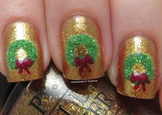 Adventures In Acetone: Digit-al Dozen DOES Festiveness: Wreath Nails! Holiday Nail Art, Winter Nail Art, Christmas Nail Designs, Christmas Nail Art, Winter Nails, Christmas Time, Xmas, Super Cute Nails, Pretty Nails