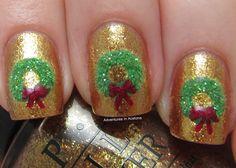 Adventures In Acetone: Digit-al Dozen DOES Festiveness: Wreath Nails!