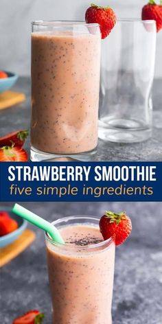 Perfectly cool, thick, creamy and slightly sweet, this healthy strawberry smoothie recipe is perfect for kids and kids at heart. #sweetpeasandsaffron #video Strawberry Mango Smoothie, Strawberry Recipes, Easy Healthy Smoothie Recipes, Clean Eating Recipes, Saffron Recipes, Best Breakfast Recipes, Breakfast Ideas, Vegetarian Meal Prep, Meals For The Week