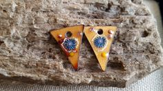 Enameled Earring Charms Grungy Slices with by BlueHareArtWear