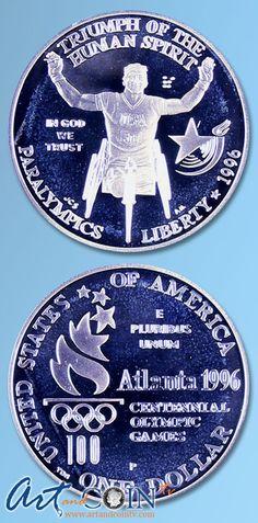 1996 Proof Silver Paralymics Commemorative Dollar www.artandcointv.com
