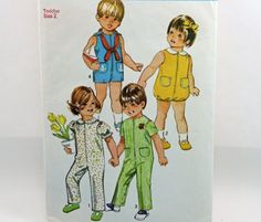 Vintage 1971, Simplicity 9290, Toddler Size 2, Jumpsuit, in Two Lengths and Bubblesuit Pattern.
